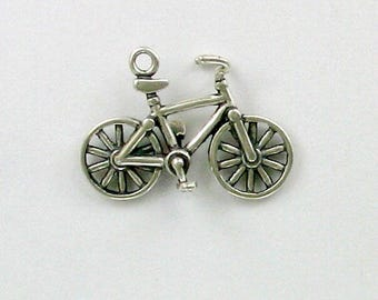 Sterling Silver 3-D Bicycle Charm