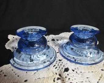 Candle holders Federal Glass Madrid blue, recollection by Indiana Glass Co pair