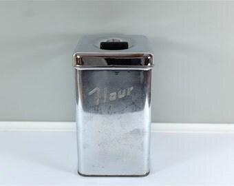 Masterware Canette vintage chrome canister: Flour - Retro flour canister - Chrome canister - Bakelite handle canister