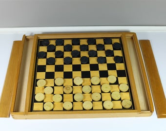 """Vintage wooden checkers and """"petits chevaux"""" games - French board game - Beech wood board checkers game horse - Vintage Wooden Checkerboard"""