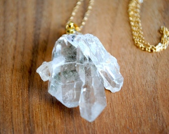 """Crystal Quartz Necklace. Gold Dipped. Raw Crystal Quartz. Quartz Cluster Necklace. 30"""" 14k Delicate Gold Filled Chain"""