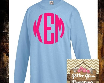 Youth Girls Monogram Long Sleeve Shirt-Youth Monogram Tshirt-Monogram Girls Shirt- Youth Monogram Tshirt