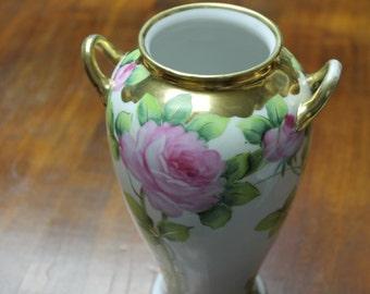 Morimura Brothers Noritake Japan Hand Painted Floral Vase 18K Gold Circa 1940's