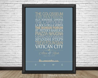 Rome, Travel Print, Rome Sightseeing, Famous Places, Travel Destinations, Vacation, Honeymoon, City Prints, Gift for Couples, Art Print