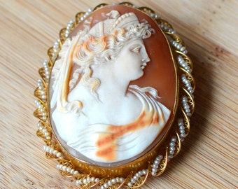 Vintage Shell Cameo With Pearls - 1930s Hand Carved Shell Cameo Pin or Pendant - Seed Pearl Cameo With Twist Frame - Antique Shell Cameo