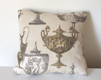 Beige Pillow Cover - 16 x 16 - Beige Cushion Cover - Beige PIllow - Beige Cushion - Grecian Urns