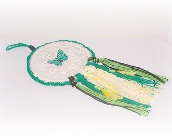 Daisy Butterfly Dreamcatcher Nursery Gift Crochet Doily Beaded Dream Catcher Room Decor Teen Boho Hippie Feather Wall Hanging Room Decor