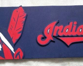 Cleveland Indians Wood Sign