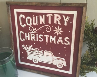 Country Christmas wood sign