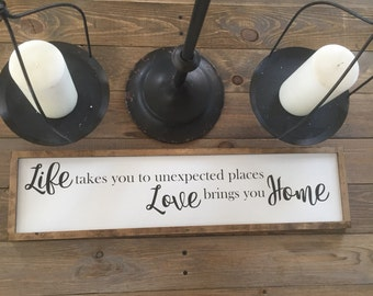 Farmhouse style Love Brings You Home wood sign