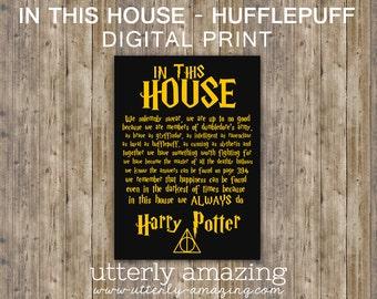 Harry Potter   Hogwarts   House Rules Typography Digital Print