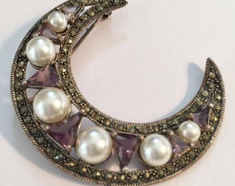 Large Vintage Brooch, Sterling Marcasite Moon, with earls and Amethysts