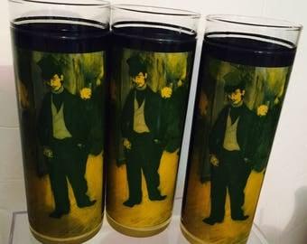 Vintage Glasses, Barware, Toulouse Lautrec, Set of 3