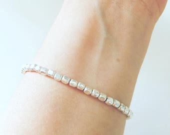 Fully silver 925 bracelet with nuggets