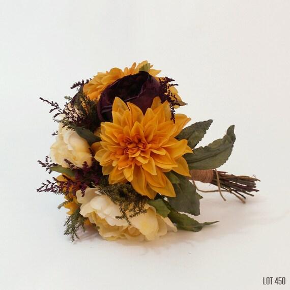 Silk Orange Fall Flowers: Fall Wedding Bouquet Silk And Dry Flower Bridal Boquet Bride