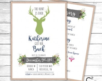 The Hunt is Over Bachelorette Invitation