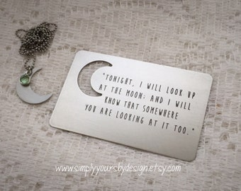 Stamped Wallet Card,Engraved Wallet Card,Personalized Wallet Insert,Gift Card,Moon Jewelry,Moon Necklace,Unique Gift,Deployment Gift,Husband