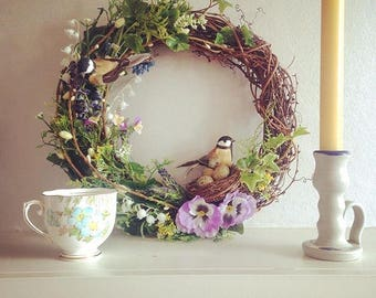 Spring wreath 13inch - Easter wreath - Country wreath - Natural wreath - birds - nests -spring flowers - large wreath
