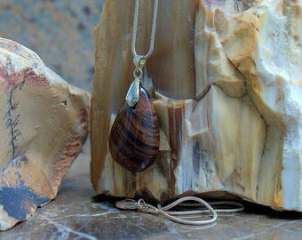 Mahogany Obsidian medium size charm pendant with silver plated bail and necklace