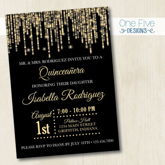 Quinceanera Invitation Gold Glitter String Lights Printable 5x7