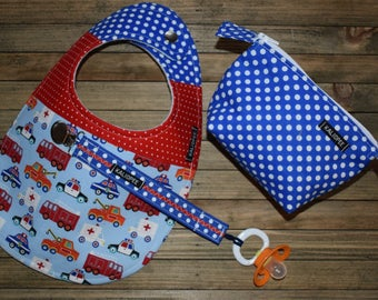 Police and Fire Truck Bib, Pacifier Clip and Pacifier Pouch Gift Set, 6- 12 month baby gift