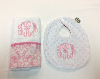 Burp Cloth and Bib set , Pink and White Damask made with Minky Dot