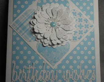 Birthday wished~happy birthday card~wishes for a happy birthday~embossed~very dimensional~blank inside~turquoise and white