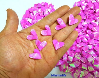 Lot of 365pcs Medium Size Pink Color 3D Origami Hearts 'LOVE'. (TX paper series). #FOH-165.