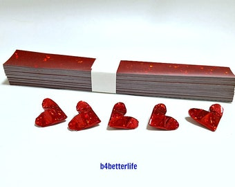 "200 Strips of Red Color DIY Paper Kit For Medium Size 3D Origami Hearts ""LOVE"". (4D Glittering Paper Series). #HPK-9."