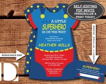 Superhero Baby Shower Invitation, Onesie Invitation, Superhero, Blue and Red, Superman, Self-Editing PDF Invite, BONUS Diaper Raffle Tickets