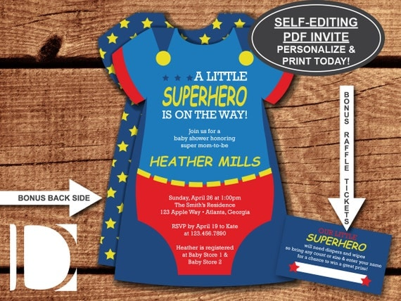 Superhero Baby Shower Invitation Onesie Invitation