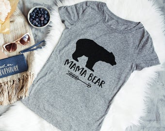 Mama Bear Shirt - Gray Womans Tee - Mama Bear Tshirt for Mother's Day