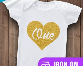 Baby Onsie, One Year Old, 1 Year Old, First Birthday, Baby Birthday, Baby Onsie, Birthday Iron On, Iron On, Parch,Glitter,Gold,Silver, Vinyl