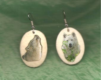WOLVES - EARRINGS - Ostrich Shell - Hand Crafted
