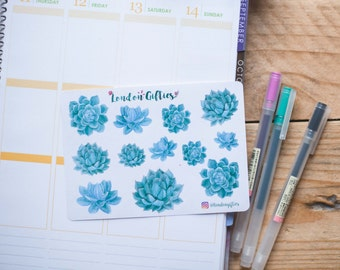 Green succulents - decorative watercolour planner stickers suitable for any planner -294-