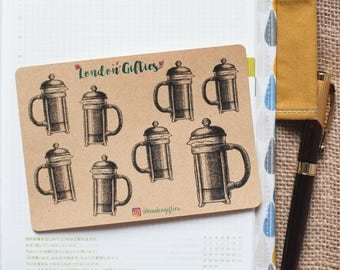 French press coffee maker - decorative sketch kraft planner stickers suitable for any planner -444-