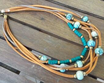 Short necklace, Ceramic beads, leather multi strand