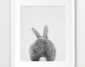 Bunny Tail Print, Nursery Animal Wall Art, Woodlands Animal Print, Black And White, Cute Bunny, Rabbit Photo, Kids Room Decor, Printable Art
