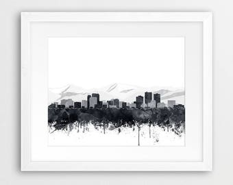 Anchorage Skyline Print, Anchorage Watercolor Grey Black White, Anchorage Alaska Cityscape, Modern Wall Art, Home Decor Travel Printable Art