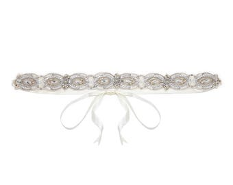 Wedding Sash Belt Ivory Silver Joy Great Gatsby Flapper Vintage inspired 20s Beaded Charleston Downton Abbey Wedding Art Deco Hand Made