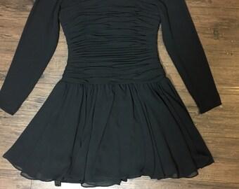 80s sheet black mini dress