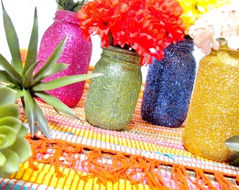 Fiesta Centerpieces, Glitter Jar, Pick your size and colors, Latin Wedding Frida Birthday Dinner Baby Shower Bridal Tea Party Bachelor BBQ