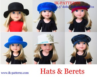 14.5 inch Wellie Wishers Doll Clothes Patterns HAT & BERET pdf pattern bundle