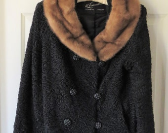 2nd Reduction! Vintage Persian Lamb Jacket with Mink Collar, 1940's