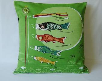 "Japanese Furoshiki Oriental ' 'koi nobori' carp streamer' Cushion Cover 18"" x 18"""