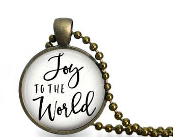 Christmas Necklace, Joy To The World Pendant, Joy Necklace, Joy To The World Jewelry, Christmas Jewelry, Christmas Carol, Holiday Pendant