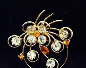 On Sale 1950s Vintage Rhinestone Costume Jewelry Pin Brooch