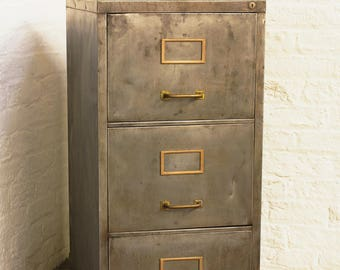 Reclaimed Vintage Urban Industrial Chic 1960s Stripped Down and Distressed Bare Steel 3 Drawer Filing Cabinet with Brass Handles