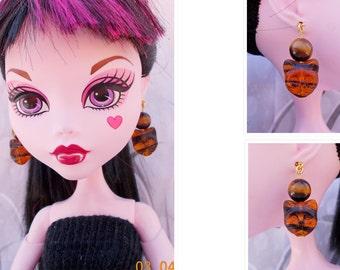 """17"""" Doll Topaz Cat Jewelry,  Doll Topaz Cat Earrings, Doll Amber Tribal Earrings, EAH, Monster Doll Jewelry,  BJD Cat Face Earrings"""