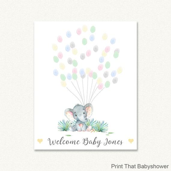 Baby Shower Fingerprint Guest Book Elephant Baby Shower